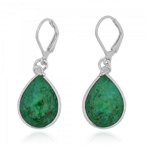 [NEA3009-CRY] Pear Shape Chrysocolla Lobster Clasp Earrings