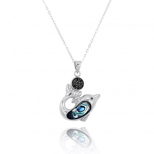 [NP11308-ABL-BKSP] Sterling Silver Dolphin with Abalon shell and Black Spinel Pe