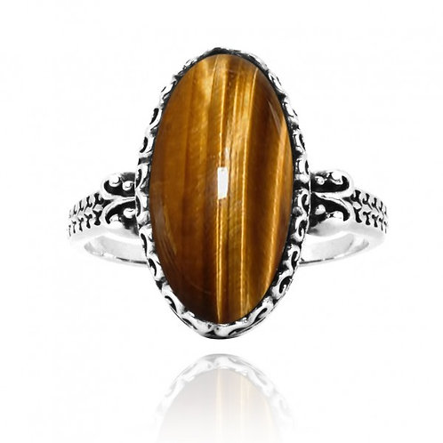 [NRB5213-BRTE] Oval Shape Brown Tiger Eye Solitaire Ring