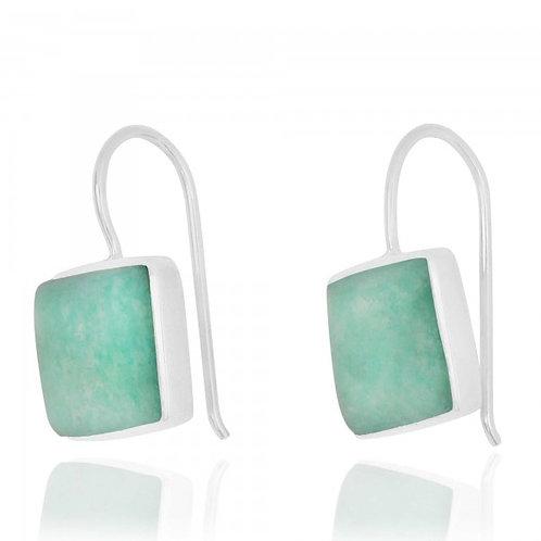[NEA2411-AMZ] Cushion Shape Amazonite Drop Earrings