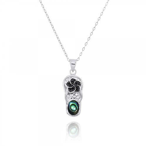 [NP11326-ABL] Sterling Silver Sandal Pendant with Black Spinel Hibiscus and Roun
