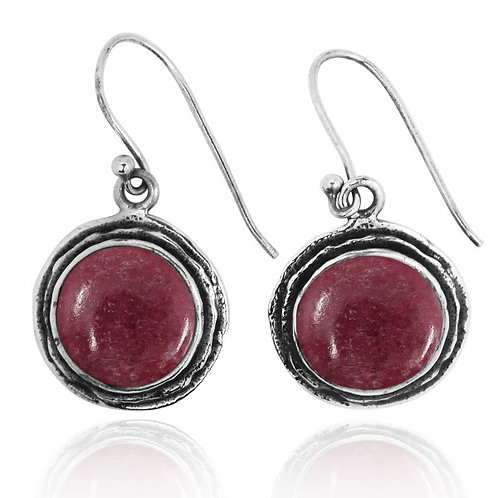 [NEA1968-RDN] Rhodonite Sterling Silver Drop Earrings