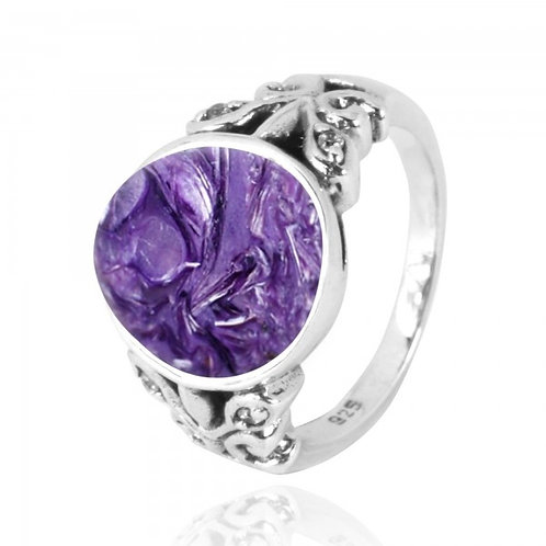[NRB5096-CHR-WHCZ] Oval Charoite Oxidized Silver Ring with Butterflies and White