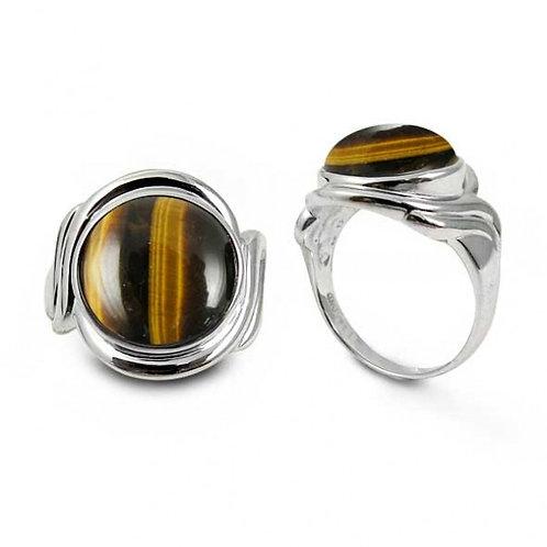 [NRB6617-BRTE] Sterling Silver Ring with Round Tiger Eye