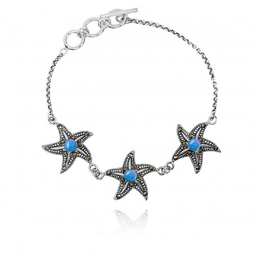 [NB1453-BLOP-MRC] Triple Starfish with Blue Opal and Marcasite Sterling Silver B