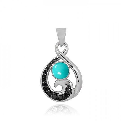 [NP11318-GRTQ-BKSP] Sterling Silver Pendant with Black Spinel Wave and Round Com
