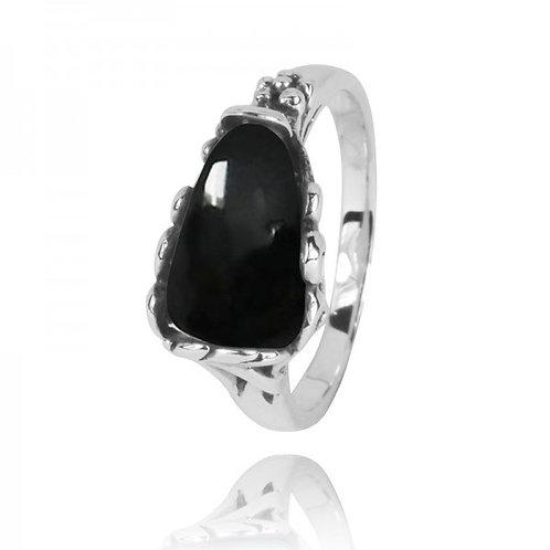 [NRB3344-BKON] Triangle Shape Black Onyx Statement Ring