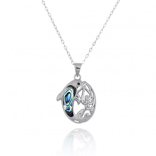 [NP11314-ABL-BKSP] Sterling Silver Dolphin Pendant with Abalon shell