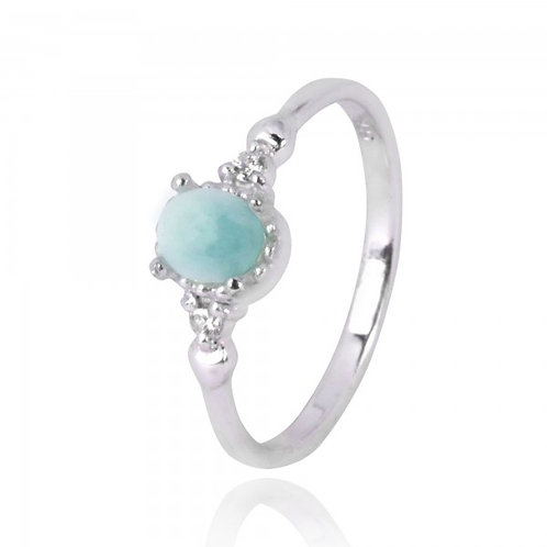 [NRB4475-LAR-WHCZ] Oval Shape Larimar Solitaire Ring