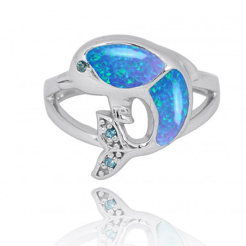 [NRB7222-BLOP-LBLT-SWBLT] Sterling Silver Dolphin Ring with Blue Opal, London Bl