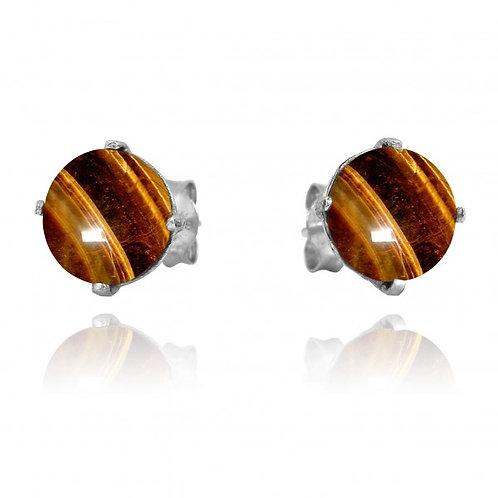 [NES3174-BRTE] Round Shape Brown Tiger Eye Stud Earrings