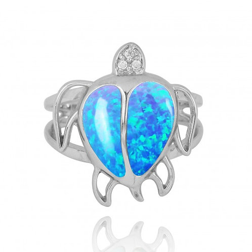 [NRB7783-BLOP-WHCZ] Sterling Silver Turtle Ring with Blue Opal and White CZ