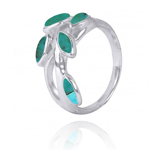 [NRB2020-GRTQ] Marquise Shape Compressed Turquoise Cocktail, Gemstone Ring