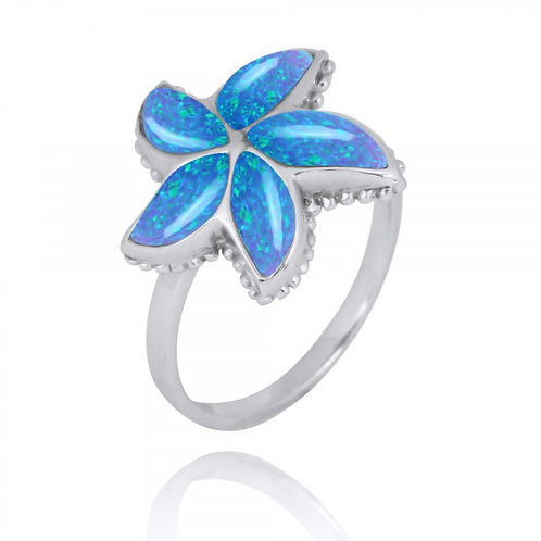 [NRB7779-BLOP] Sterling Silver Starfish Ring with Blue Opal