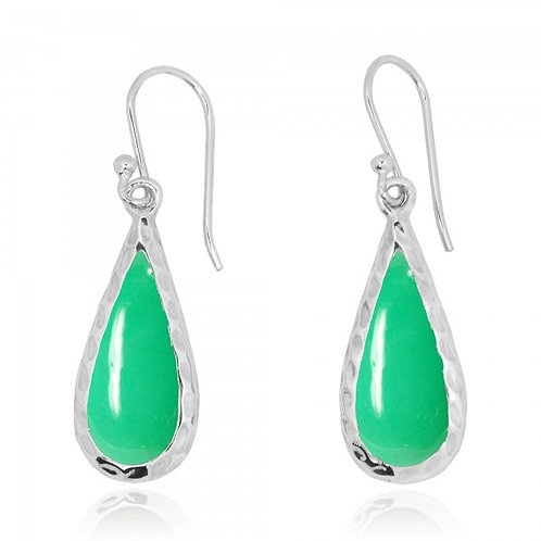 [NEA1898-CRP] Raindrop Shape Chrysoprase French Wire Earrings