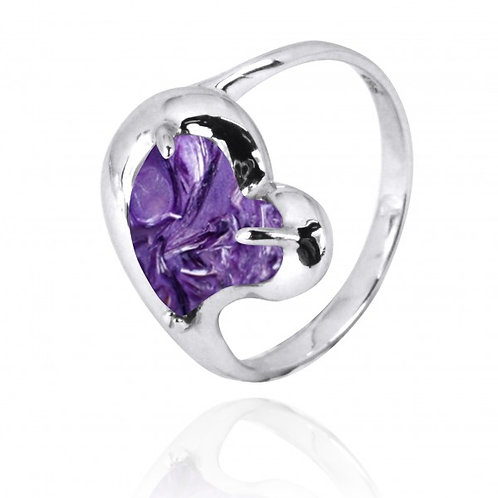 [NRB6639-CHR] Heart Shape Charoite Cocktail Ring