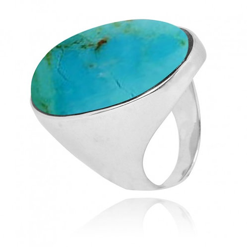 [NRB5973-GRTQ] Oval Shape Compressed Turquoise Statement Ring