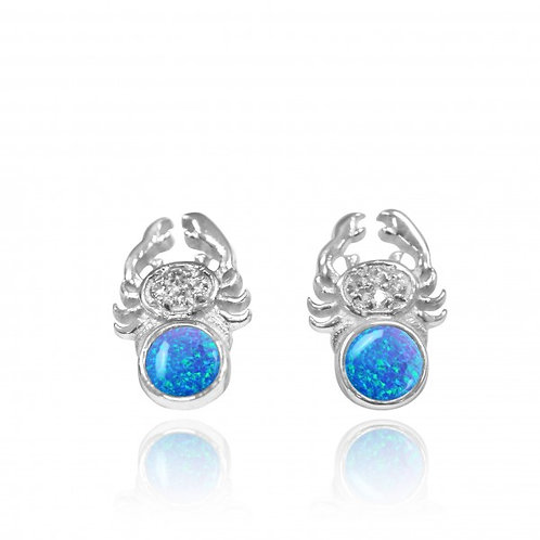[NES3718-BLOP-WHT] Sterling Silver Crab Stud Earrings with Round Blue Opal an