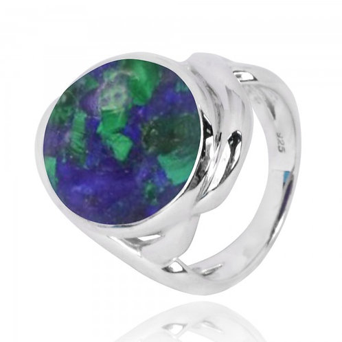 [NRB6618-AZM] Oval Shape Azurite Malachite Cocktail Ring
