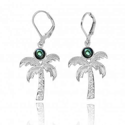 [NEA3320-ABL-WHT] Sterling Silver Palm Tree with Abalon and White Topaz Lever Ba