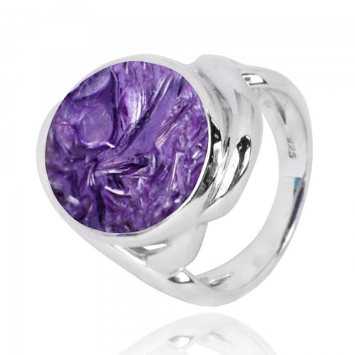 [NRB6618-CHR] Oval Shape Charoite Cocktail Ring
