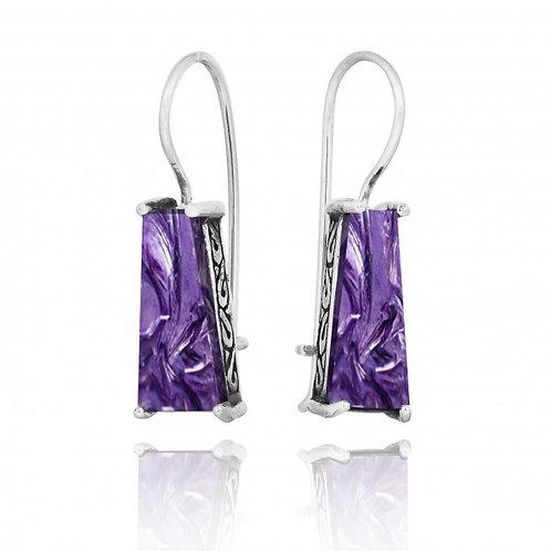 [NEA1496-CHR] Trapezoid Shape Charoite Lever Back Earrings