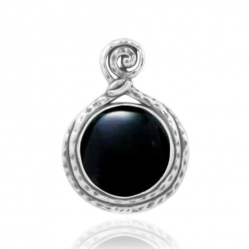 [NP11567-BKON] Round Shape Black Onyx Pendant
