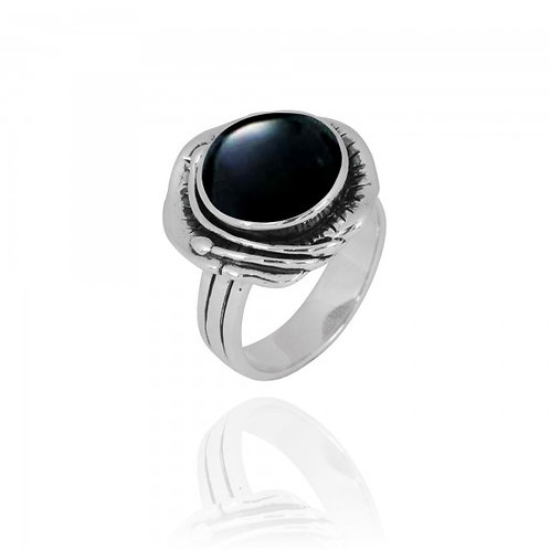 [NRB8800-BKON] Round Shape Black Onyx Cocktail Ring