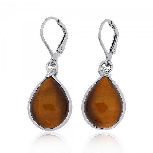 [NEA3009-BRTE] Pear Shape Tiger Eye Lobster Clasp Earrings