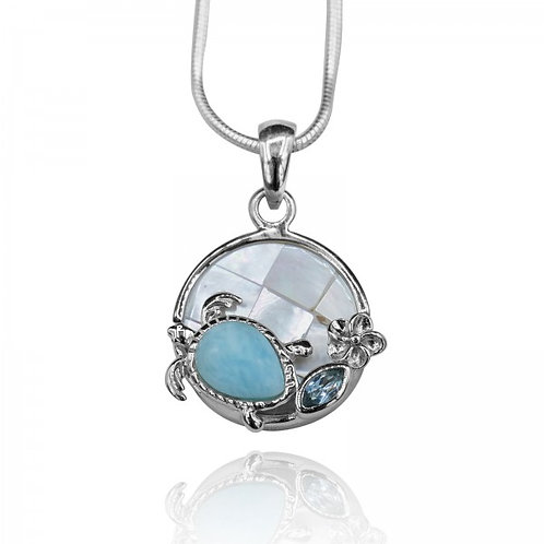 [KPG21-LAR] Pear shape larimar , blue topaz , sea turtle , round mother of pearl