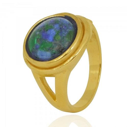 [NRB8802-AZM-G] Golden Ring with Round Azurite Malachite