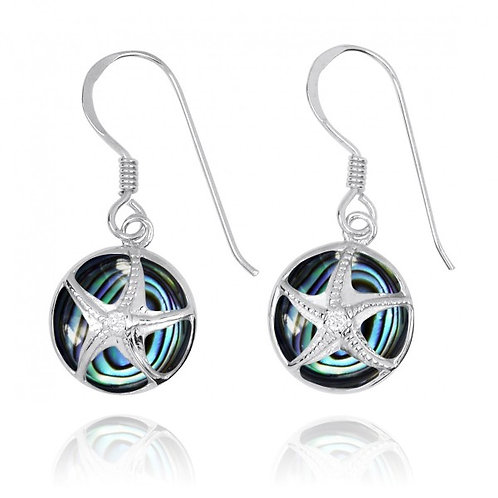 [NEA3242-ABL-CRS] Silver Starfish with Crystal on Abalon shell French Wire Earri