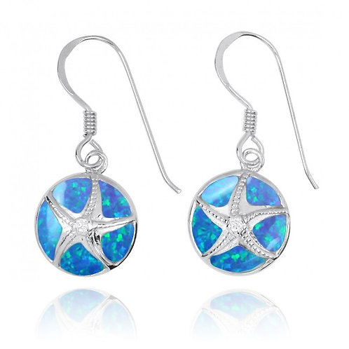 [NEA3242-BLOP-CRS] Silver Starfish with Crystal on Blue Opal French Wire Earring