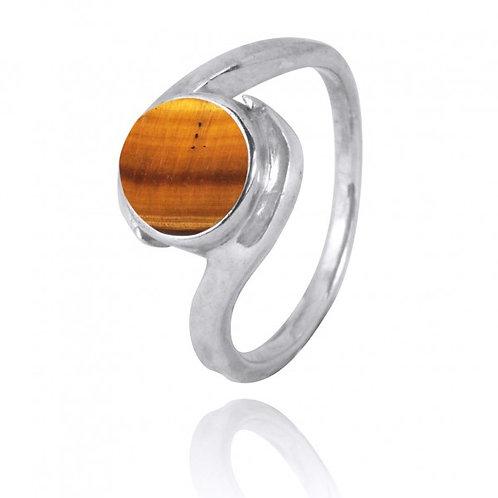 [NRB1002-BRTE] Round Shape Brown Tiger Eye Gemstone Ring