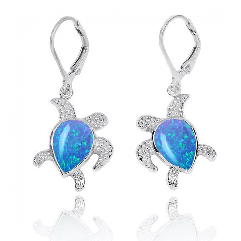 [NEA3139-BLOP] Sterling Silver Turtle with Teardrop Blue Opal Lobster Clasp Earr