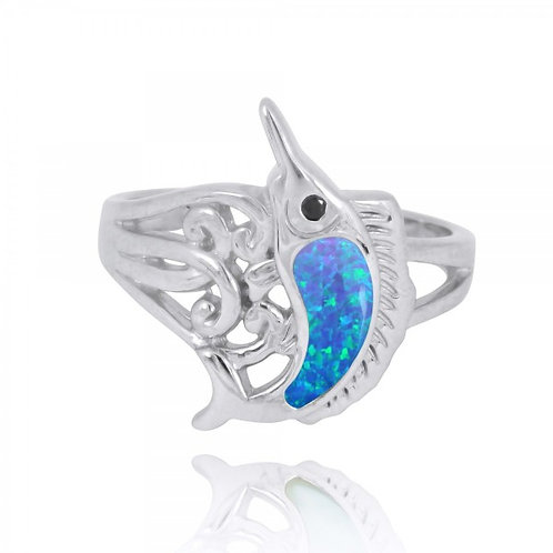 [NRB8361-BLOP-BKSP] Sterling Silver Swordfish Ring with Blue Opal and Black Spin