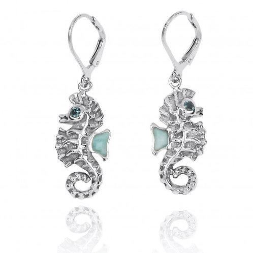 [NEA3141-LAR-LBLT] Sterling Silver Seahorse Lobster Clasp Earrings with Larimar