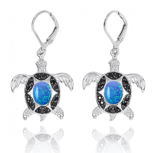[NEA3321-BLOP-BKSP] Sterling Silver Turtle with Blue Opal and Black Spinel Lever