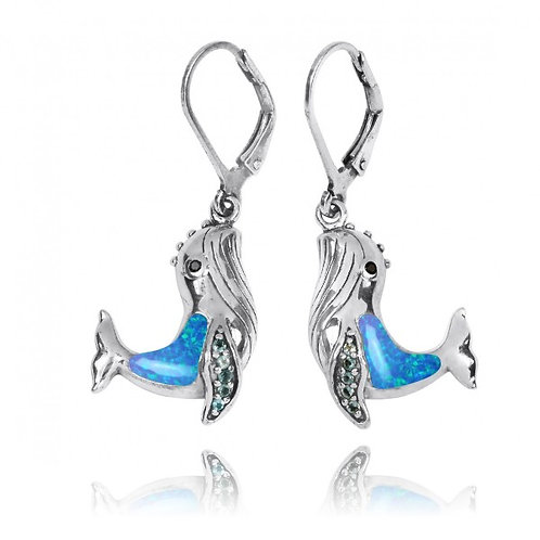 [NEA2795-BLOP-SWBLT-BKSP] Sterling Silver Whale with Blue Opal, London Blue Topa