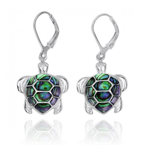 [NEA3140-ABL] Sterling Silver Turtle with Abalon shell Lever Back Earrings
