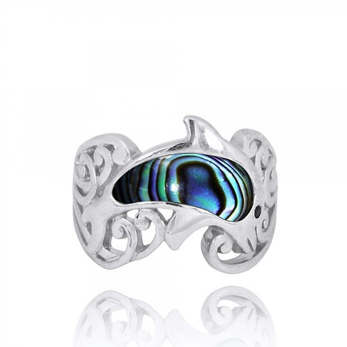 [NRB8362-ABL-BKSP] Sterling Silver Dolphin Ring with Abalon shell and Black Spin