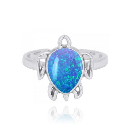 [NRB7821-BLOP] Sterling Silver Turtle Ring with Blue Opal