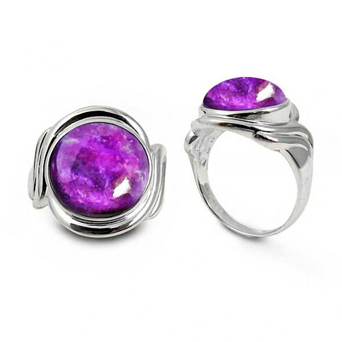 [NRB6617-SUG] Sterling Silver Ring with Round Sugilite