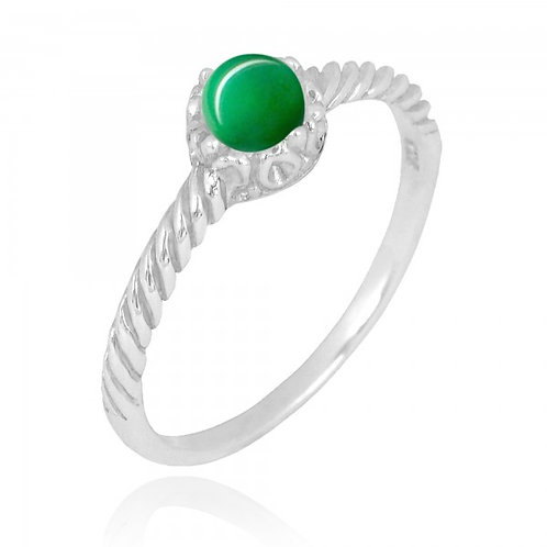 [NRB7355-CRP] Round Shape Chrysoprase Solitaire Ring