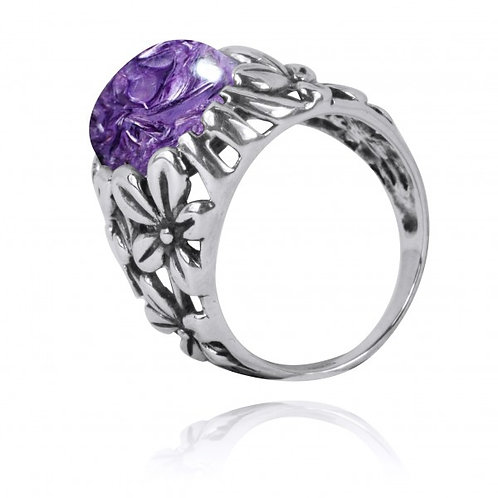 [NRB6067-CHR] Oxidized Silver Floral Ring with Charoite
