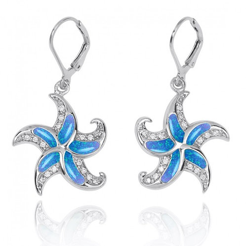 [NEA3222-BLOP-WHCZ] Starfish Lever Back Earrings with Blue Opal and White CZ