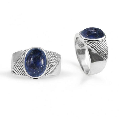 [NRB6796-LAP] Round Shape Lapis Lazuli Gemstone Ring