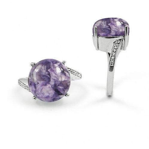 [NRB6755-CHR-WHCZ] Round Shape Charoite Gemstone Ring