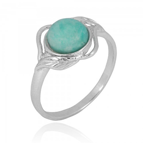 [NRB7481-AMZ] Sterling Silver Amazonite Ring with Leaf Patterns