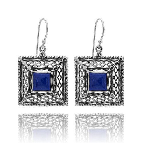 KEW4-LAP - Sterling Silver Lapis Earrings - Israeli Silver Gemstone Jewelry